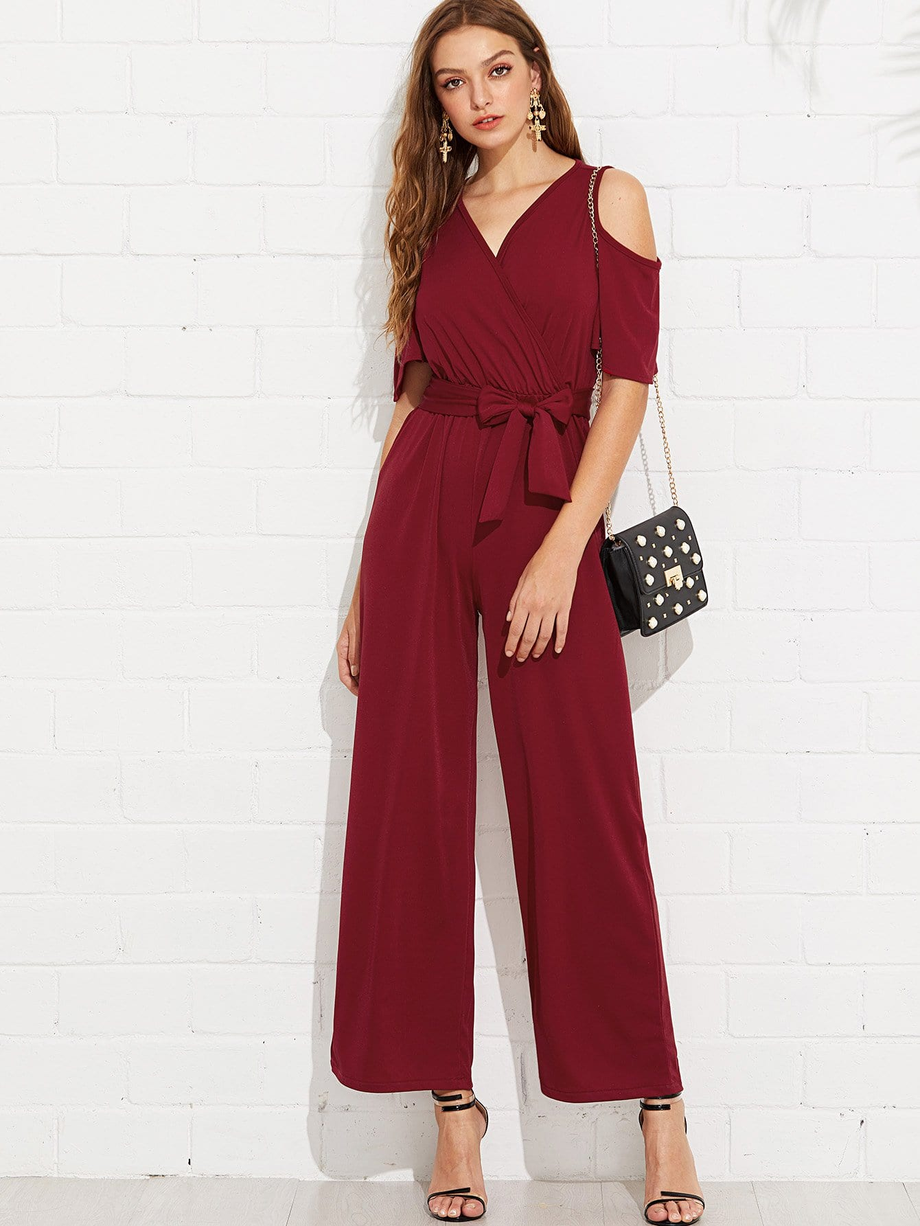 Open Shoulder Tie Waist Jumpsuit
