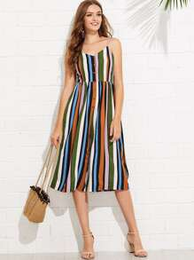 Multi Striped Button Print Cami Jumpsuit