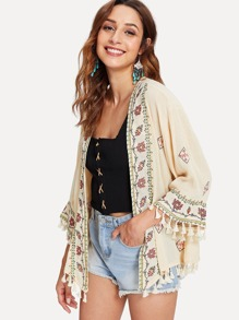 Tassel Trim Embroidered Kimono
