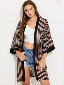 Contrast Trim Striped Kimono