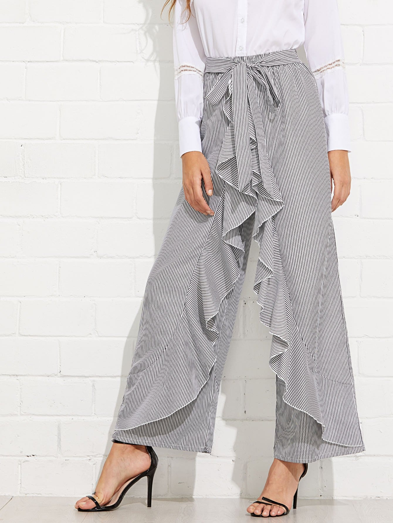 Tie Waist Striped Ruffle Wide Leg Pants bow tie side wide leg pants