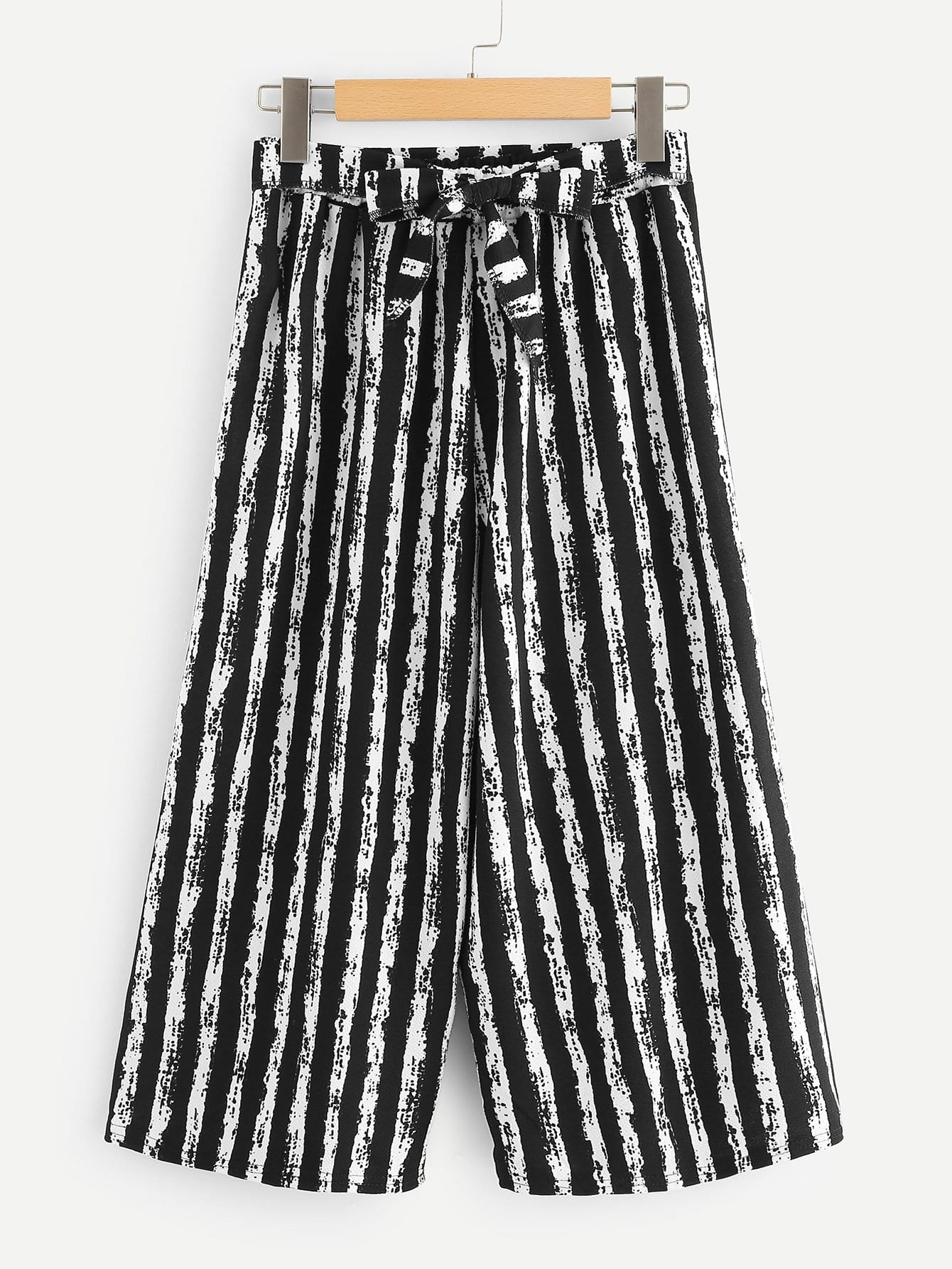Vertical-Stripe Self Tie Wide Leg Pants bow tie side wide leg pants