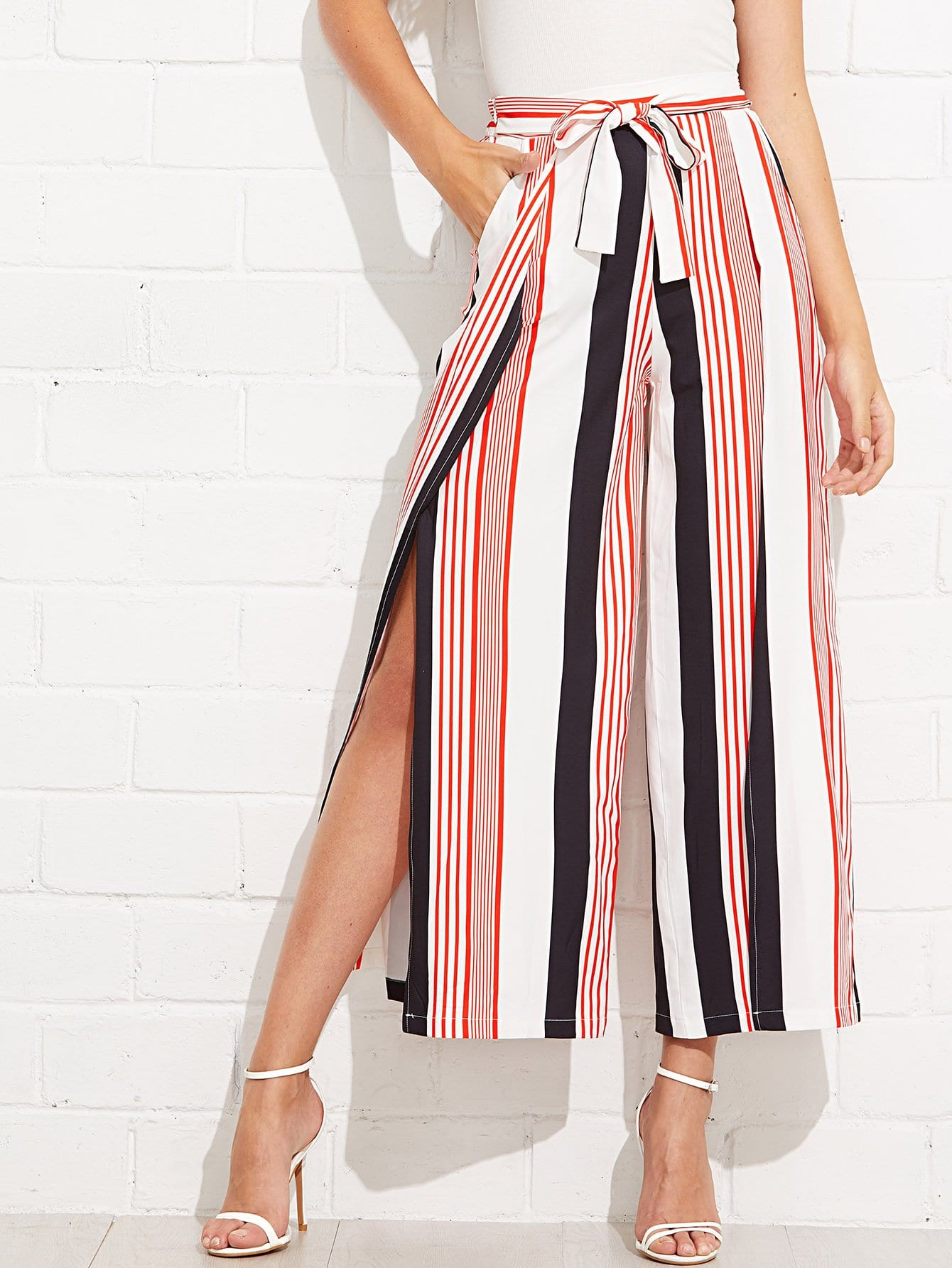 Self Tie Waist Split Side Striped Pants split sleeve self tie bodysuit