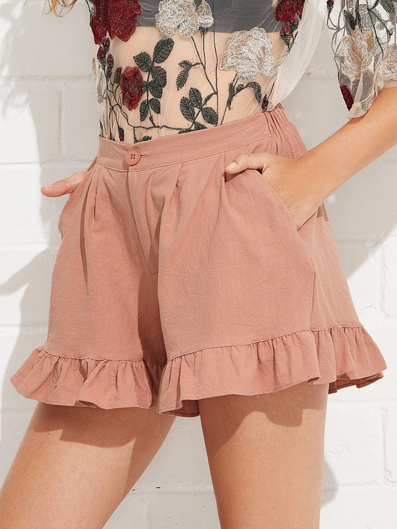 Ruffle Hem Solid Shorts ruffle hem solid shorts