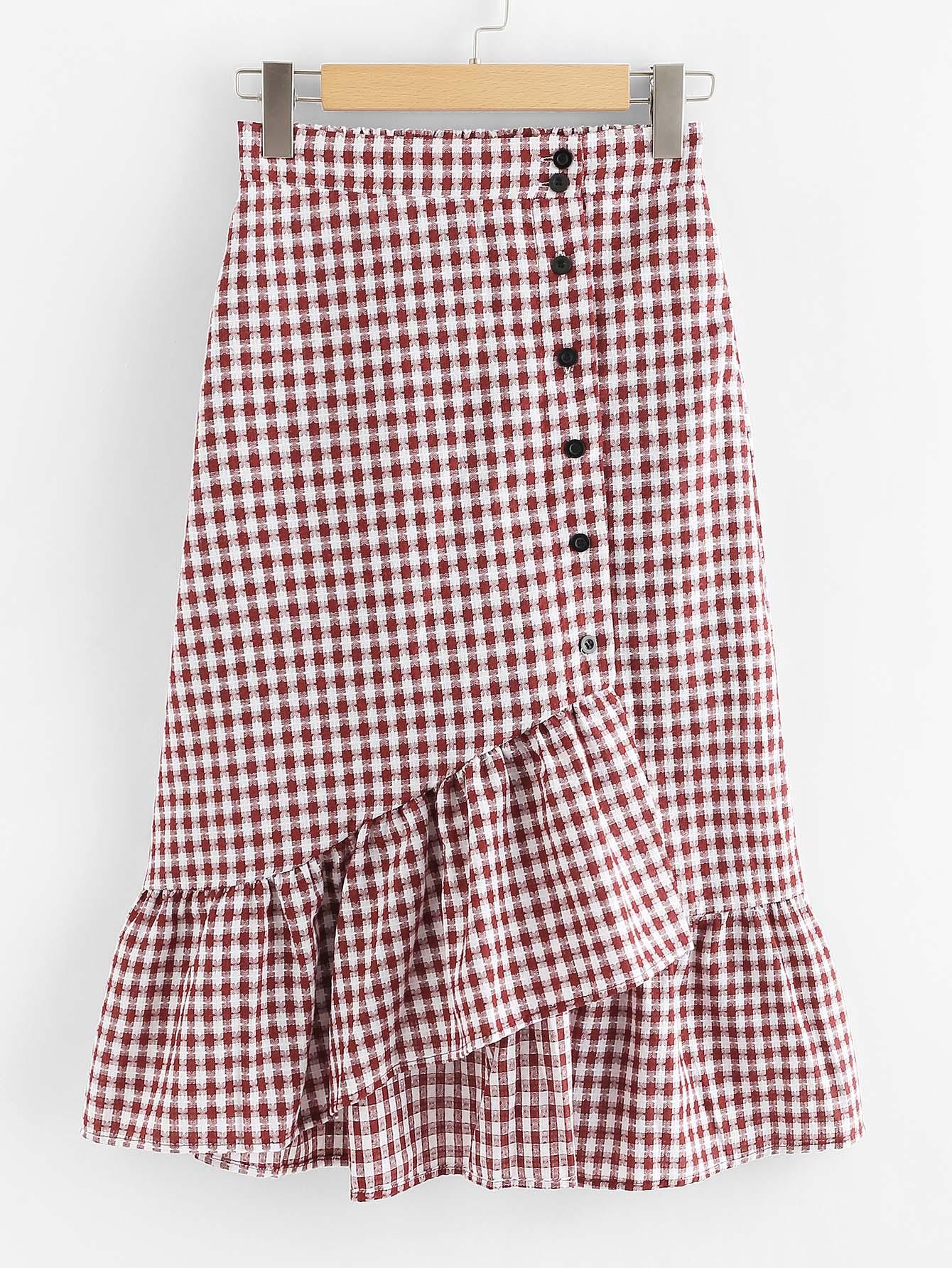 Single Breasted Ruffle Hem Checked Skirt girls single breasted raw hem skirt