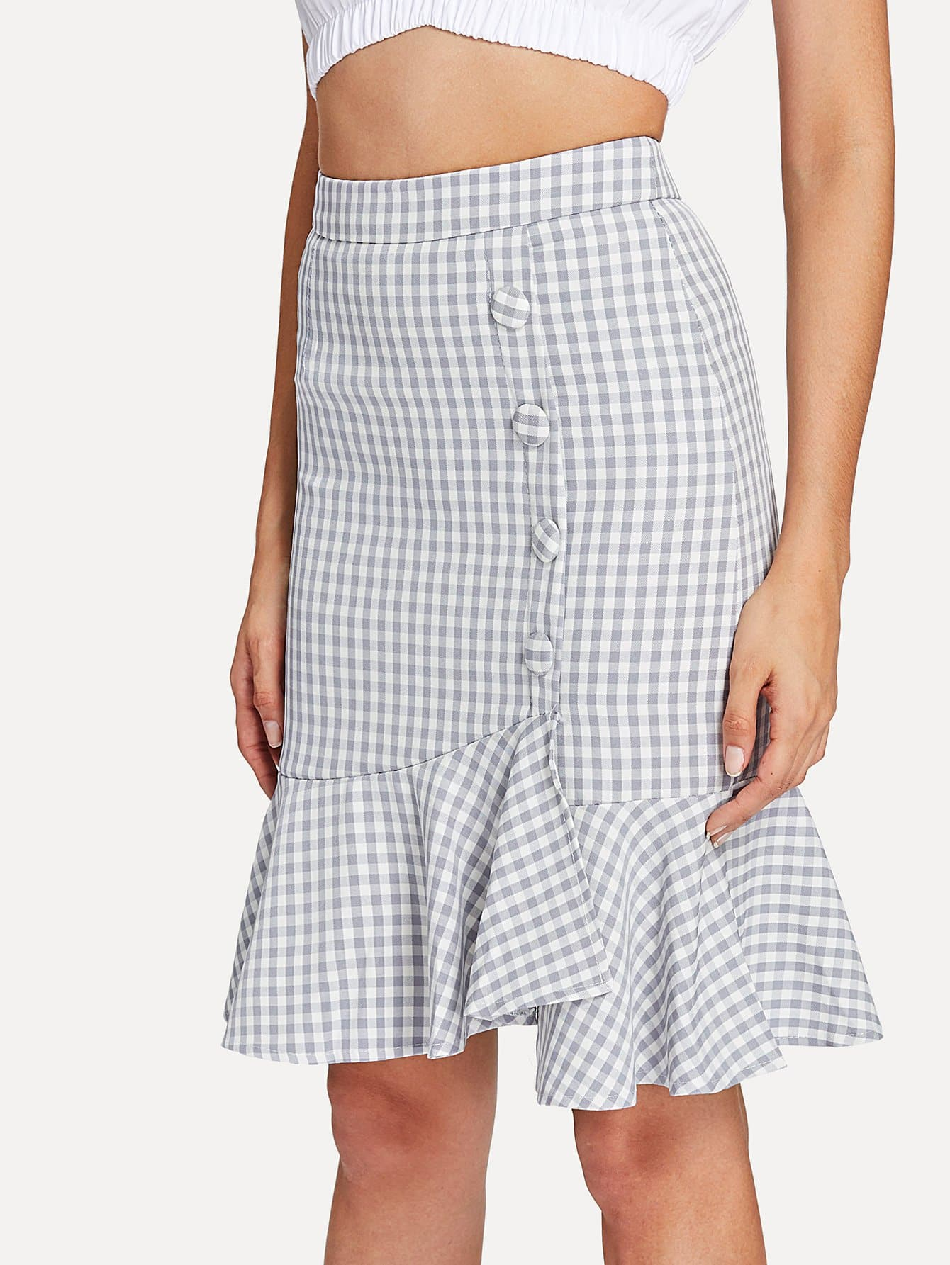 Ruffle Hem Button Detail Gingham Skirt ruffle hem button detail gingham skirt