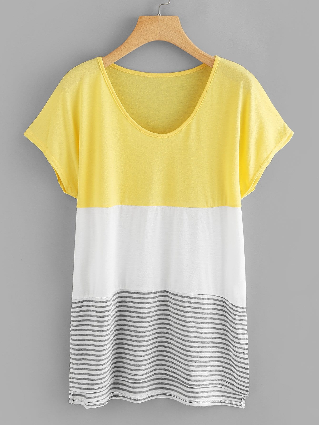 Colorblock Striped Tee colorblock lace up tee