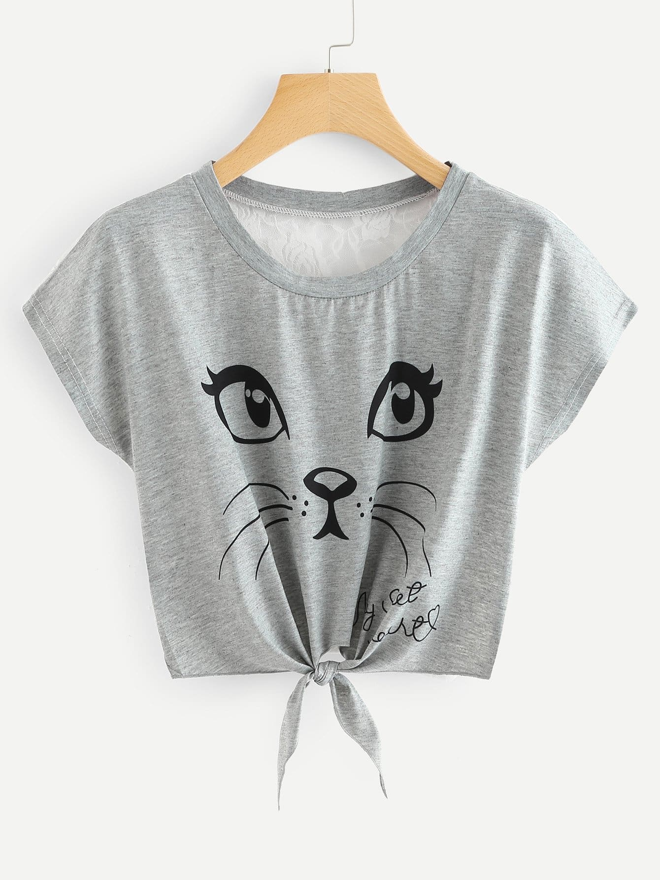 Cat Print Lace Back Knot Front Tee hollow lace shoulder knot front tee
