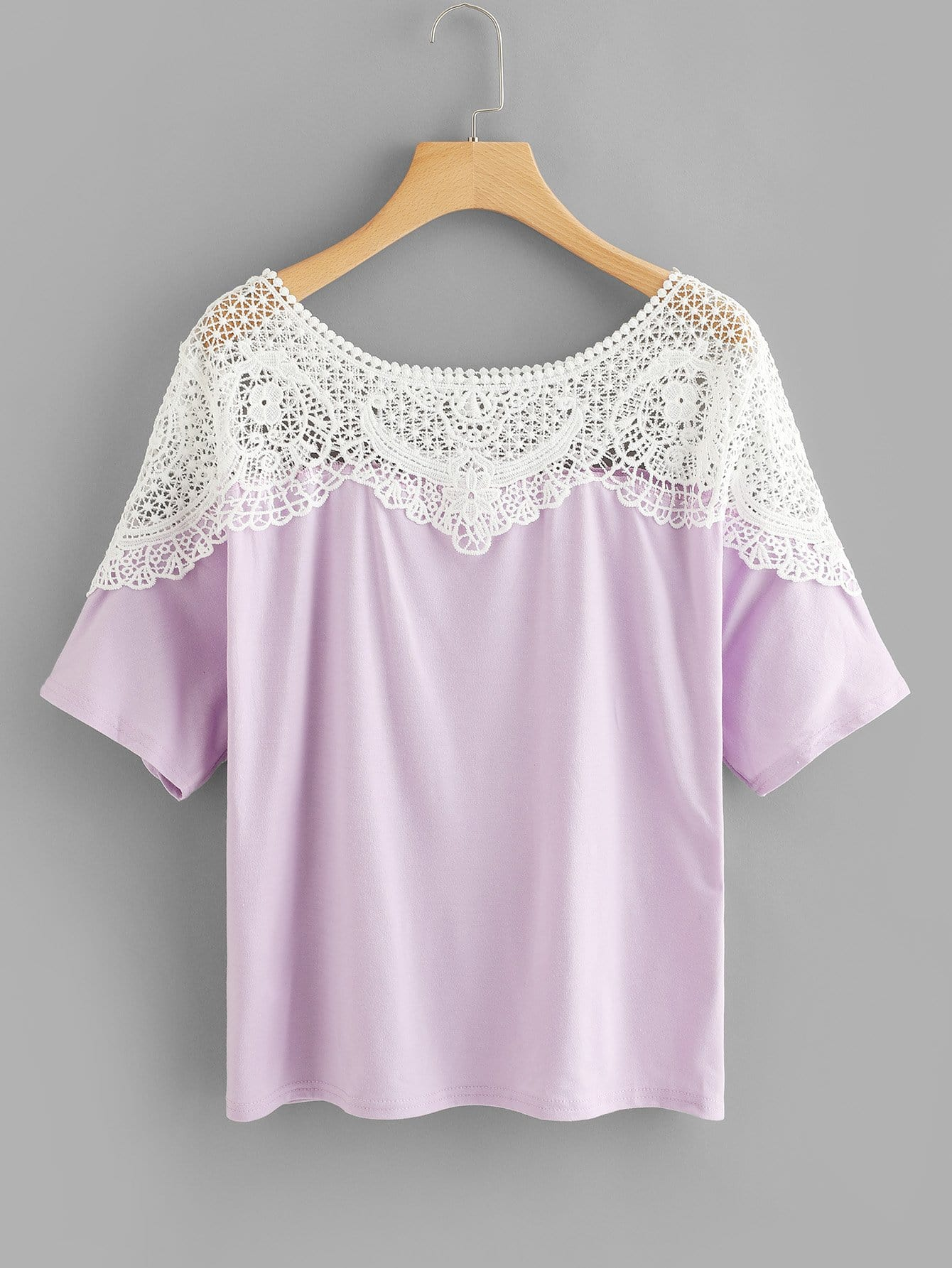 Hollow Crochet Lace Panel Tee crochet lace panel top