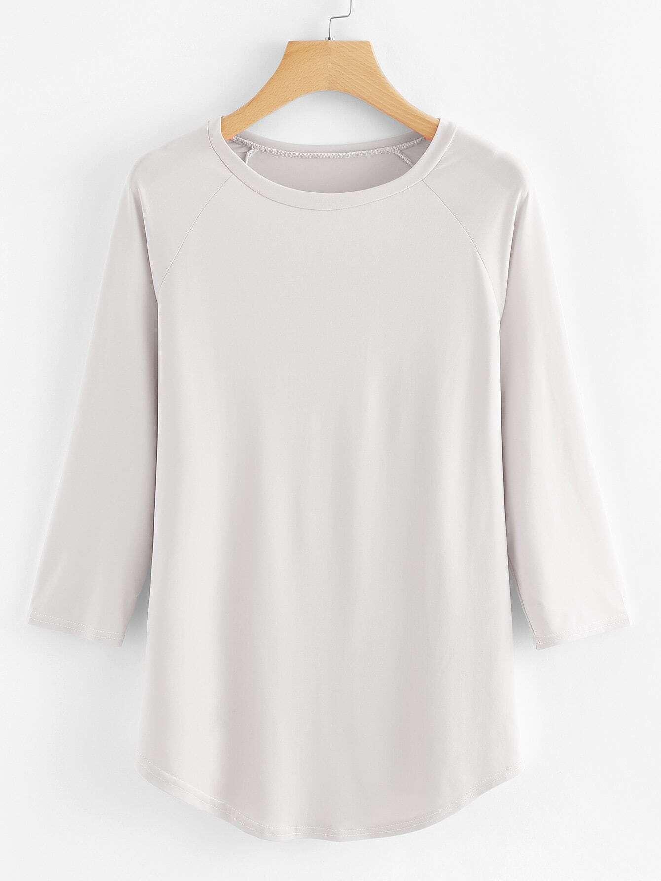 Raglan Sleeve Curved Hem T-shirt batwing sleeve pocket side curved hem textured dress