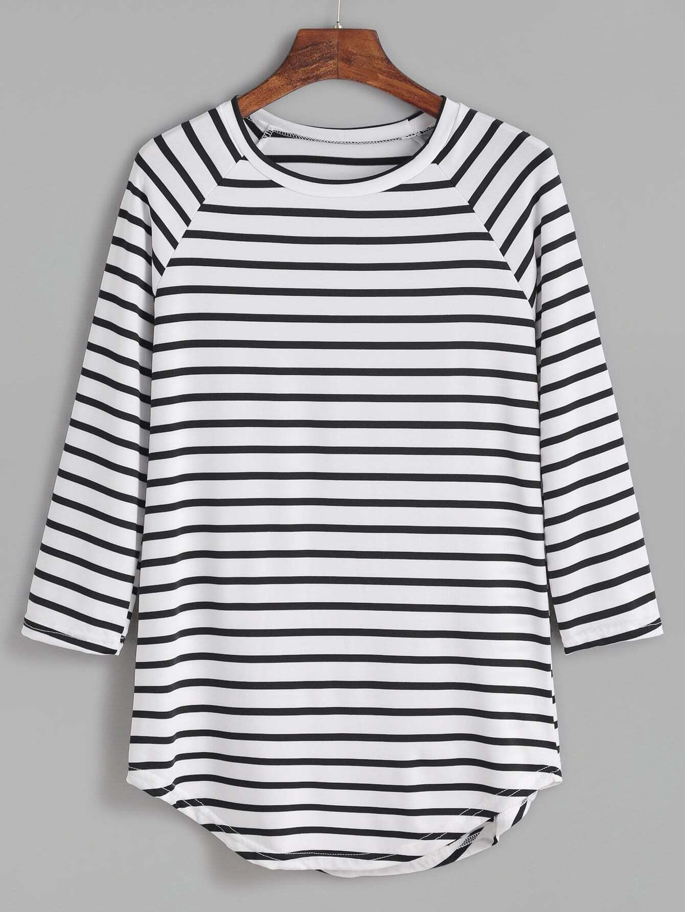Striped Raglan Sleeve Curved Hem T-shirt striped elbow patch curved hem t shirt
