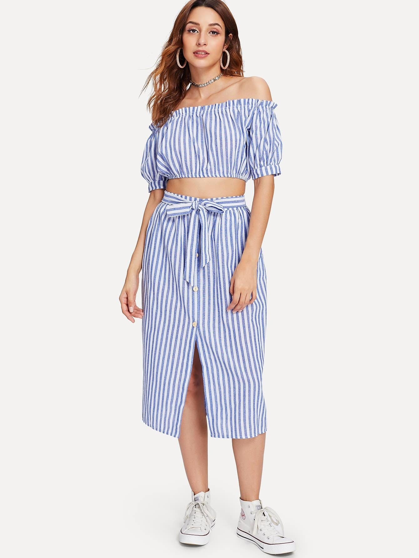 Off Shoulder Striped Top With Self Tie Skirt off shoulder hollow out self tie top