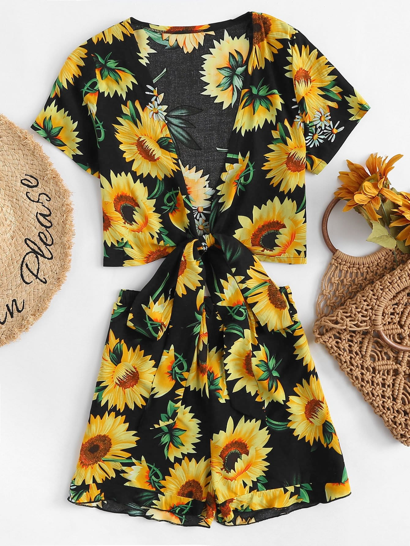 Sunflower Print Knot Front Top With Shorts letter print knot front top