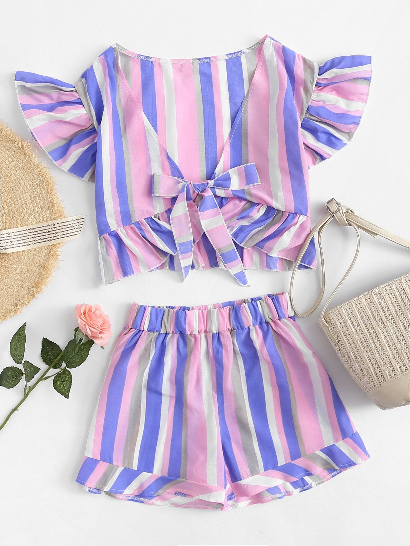Knot Front Ruffle Hem Striped Top With Shorts chic wavy hem design striped shorts for women