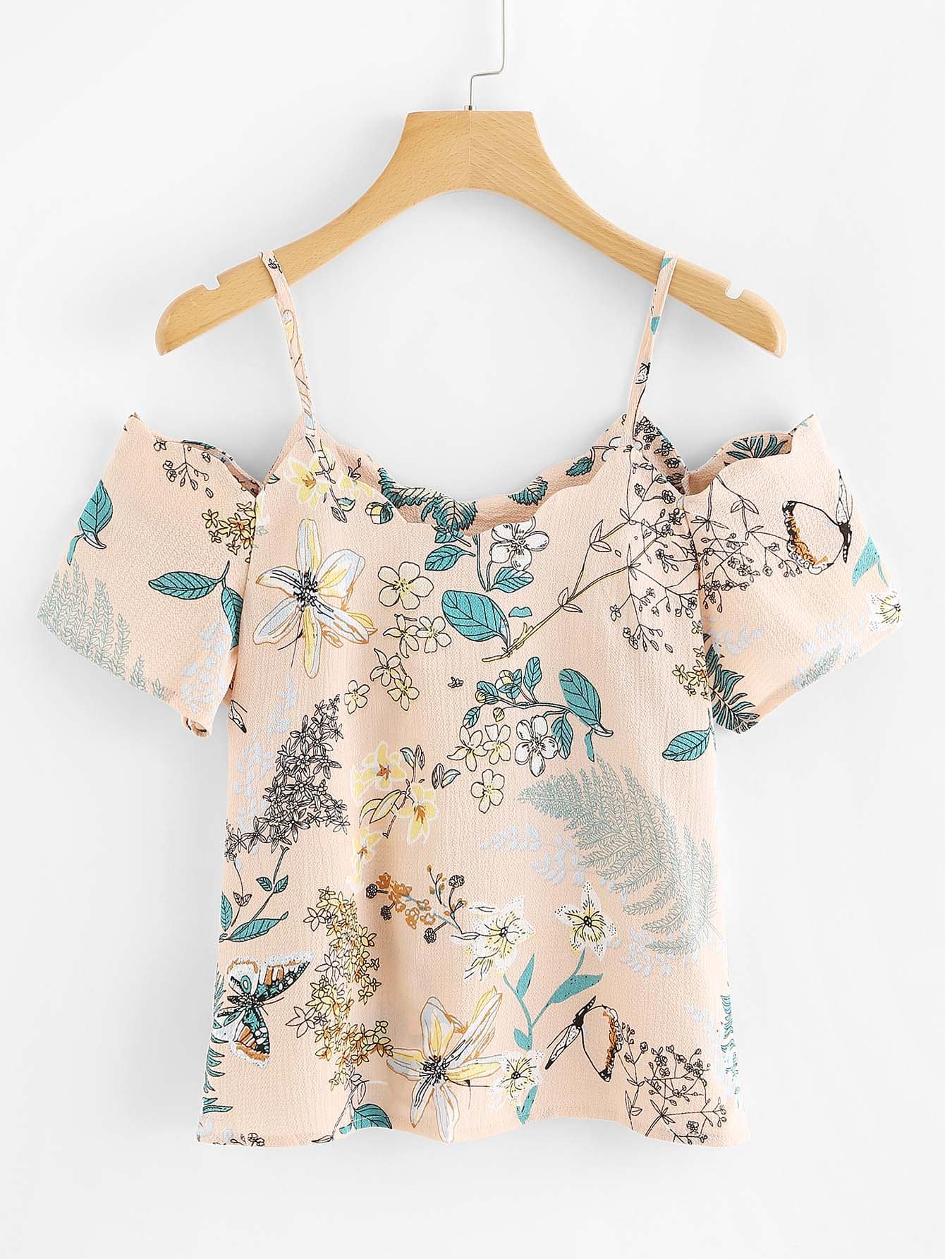 Open Shoulder Botanical Print Blouse open shoulder botanical top