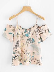 Open Shoulder Botanical Print Blouse