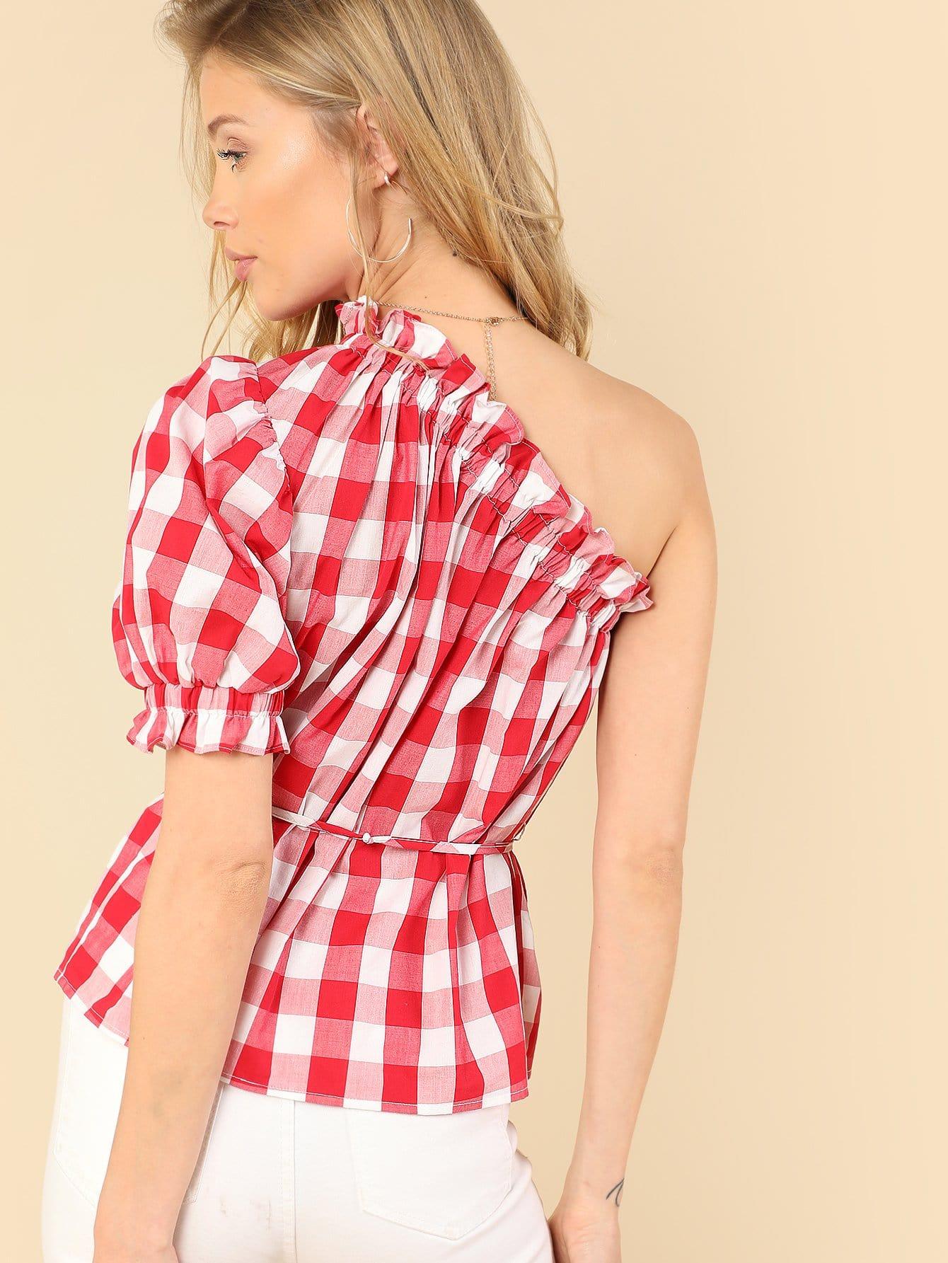 One Shoulder Frill Trim Plaid Top oblique shoulder layered frill ditsy top