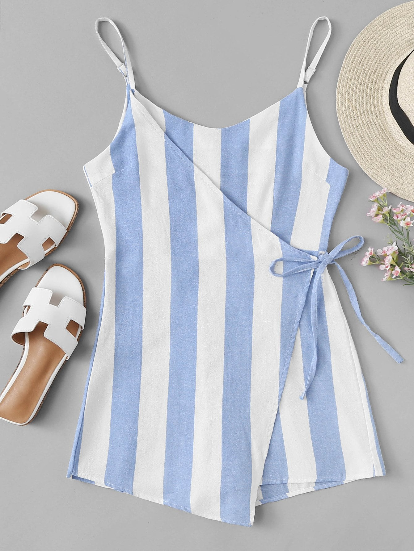 Asymmetrical Hem Striped Knot Side Romper