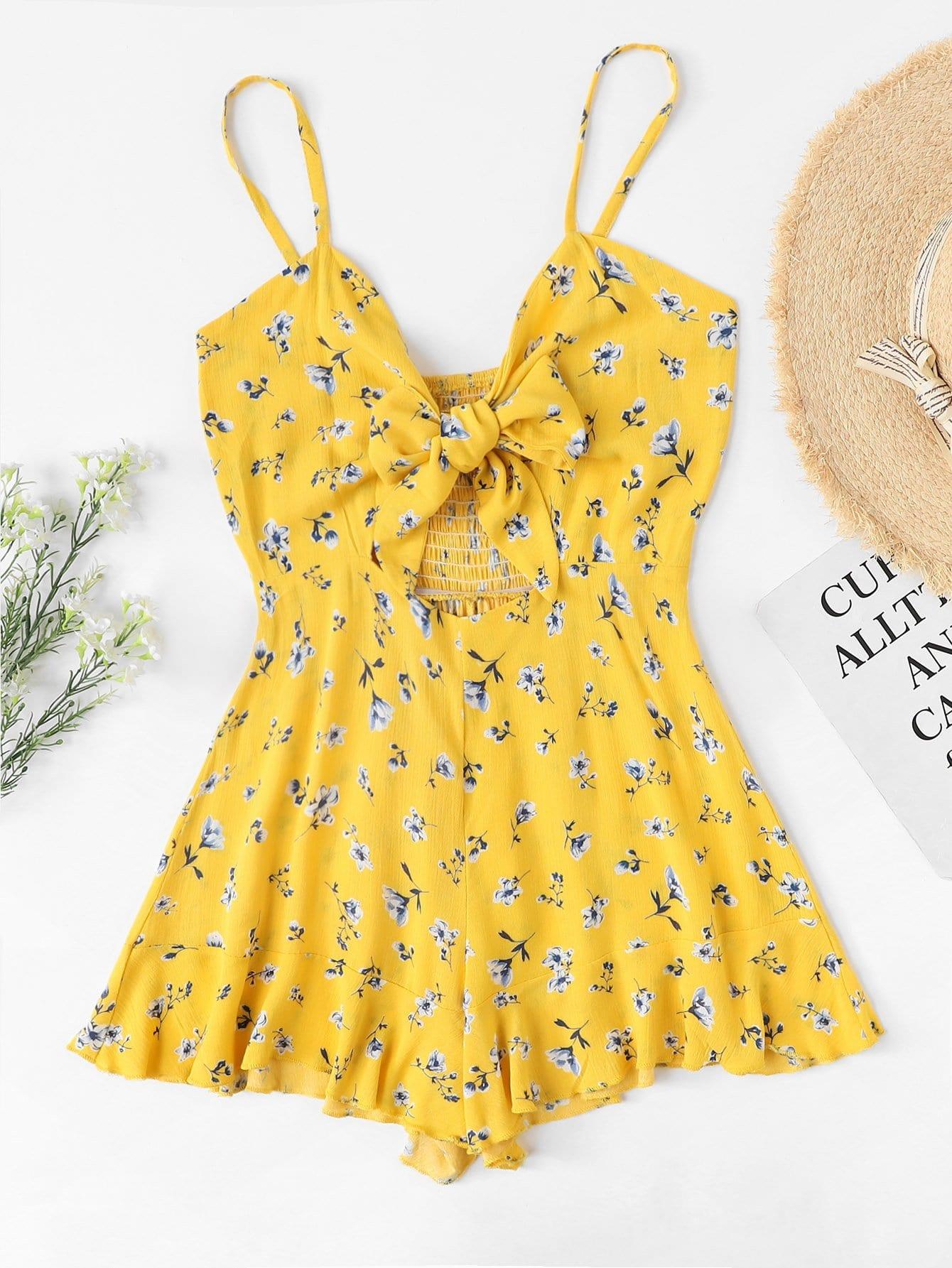 Отпускнойстиль Со цветочками с бантом Желтый Комбинезон