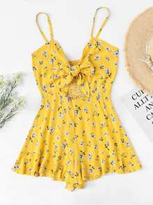 Cut Out Knot Front Floral Cami Romper