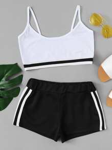 Contrast Hem Crop Cami With Striped Shorts