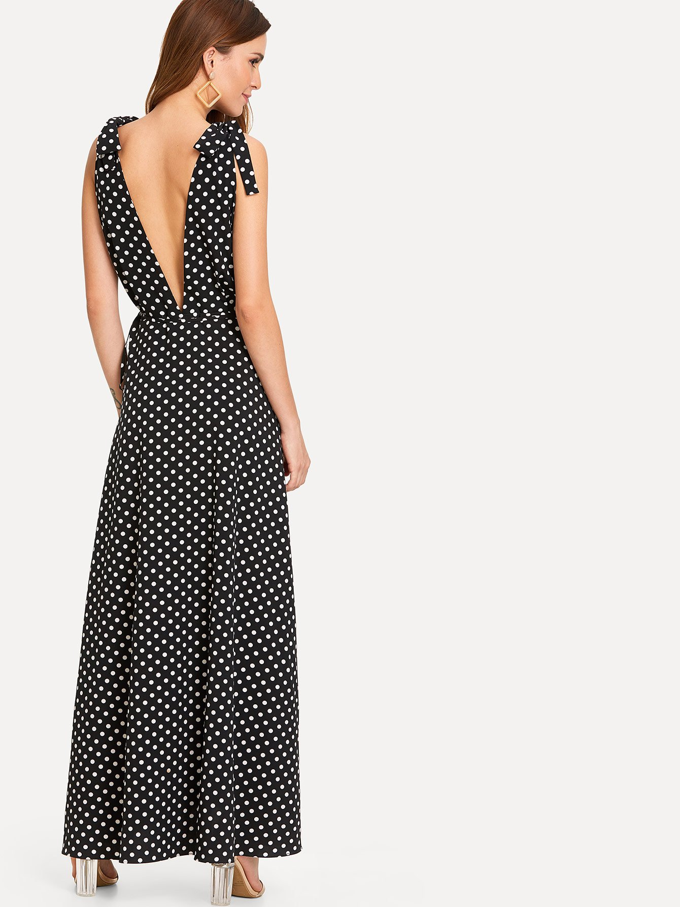 Tie Shoulder Polka Dot Surplice Wrap Dress flounce one shoulder polka dot dress