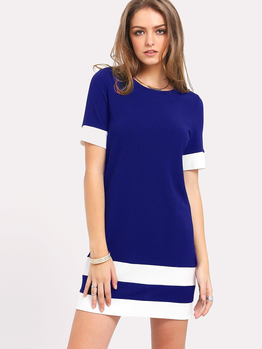 Color Block Stripe Short Sleeve Shift Dress flounce short sleeve shift sleep dress