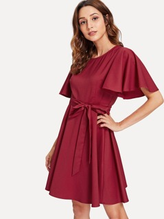 Exaggerate Ruffle Sleeve Self Belted Dress