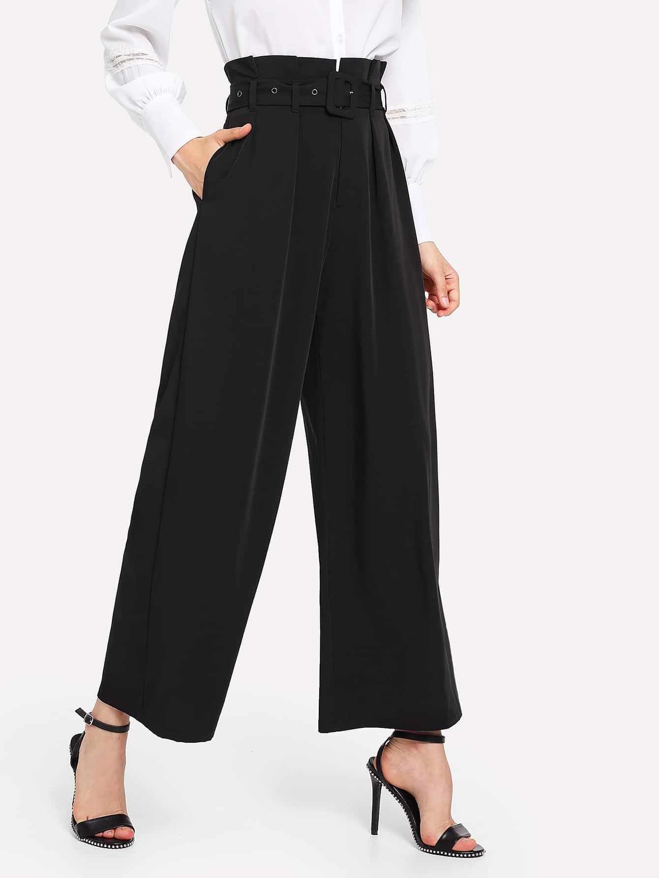 Self Belted Ruffle Waist Pants ruffle waist belted peg pants