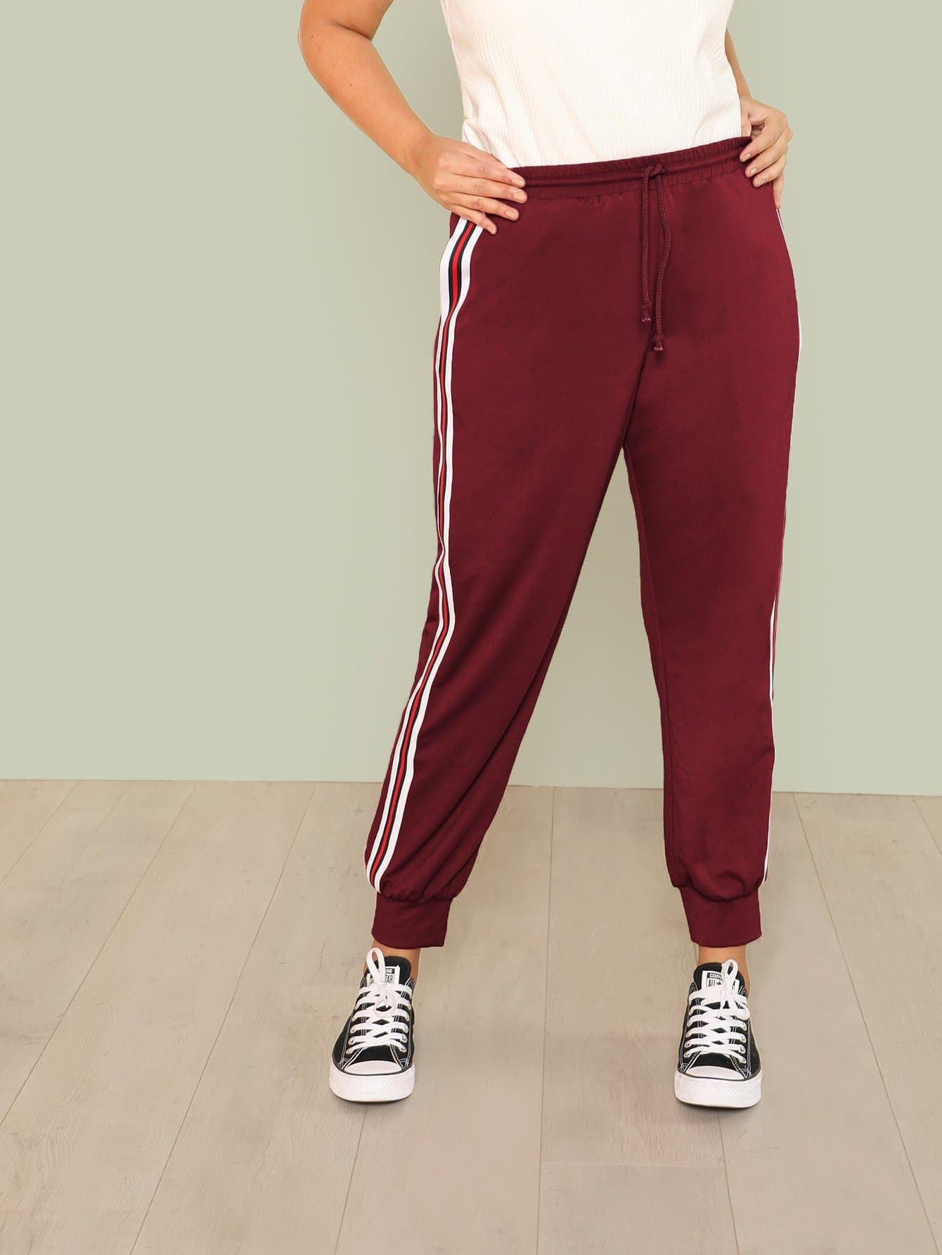 Contrast Striped Side Drawstring Waist Sweatpants contrast striped side sweatpants