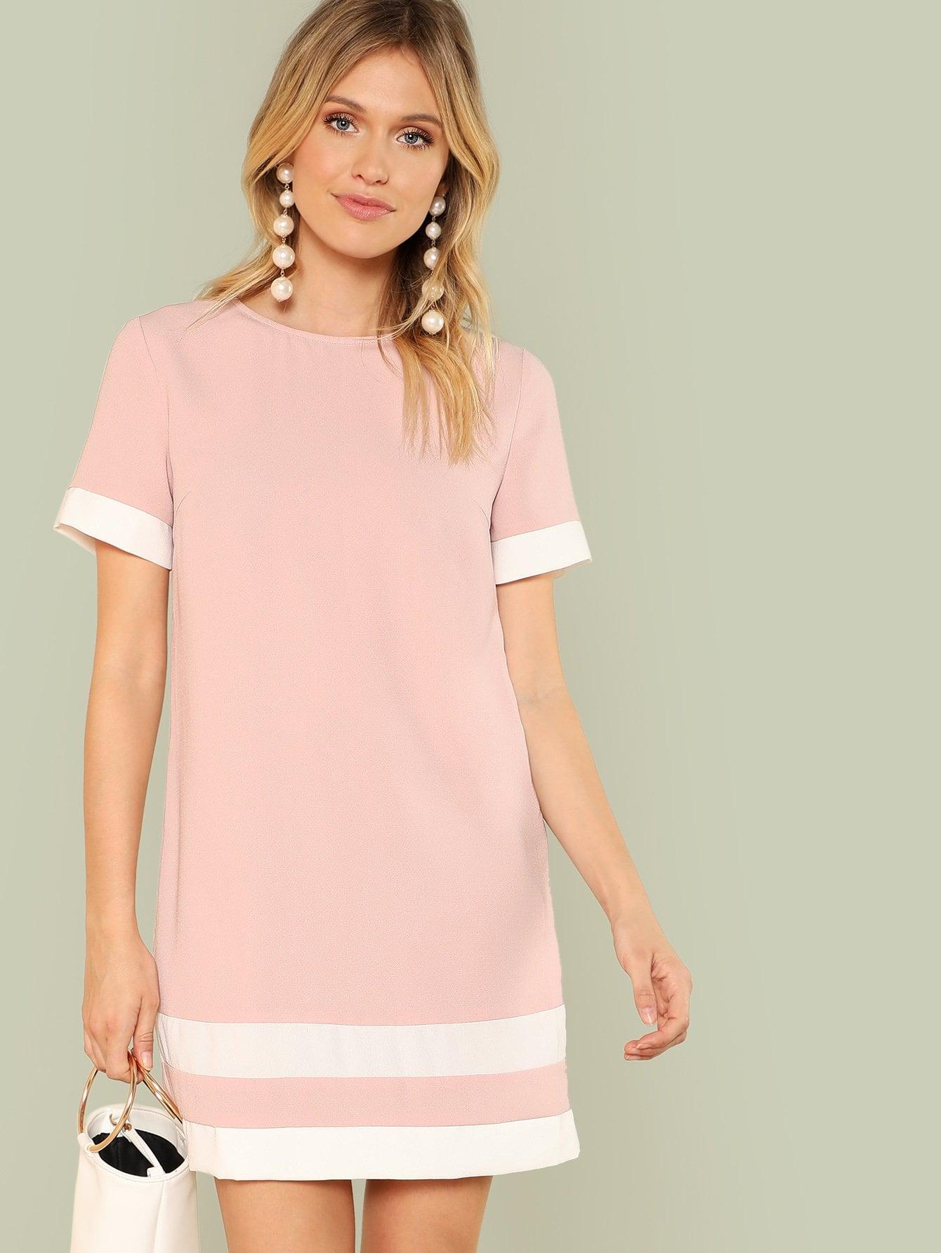 Купить Платье туника контрастное, Noelle Brown, SheIn