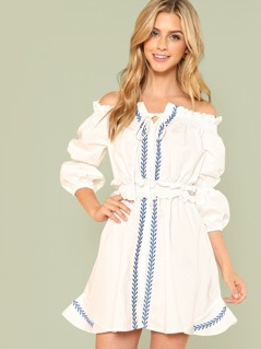 Lantern Sleeve Shirred Waist Embroidered Bardot Dress