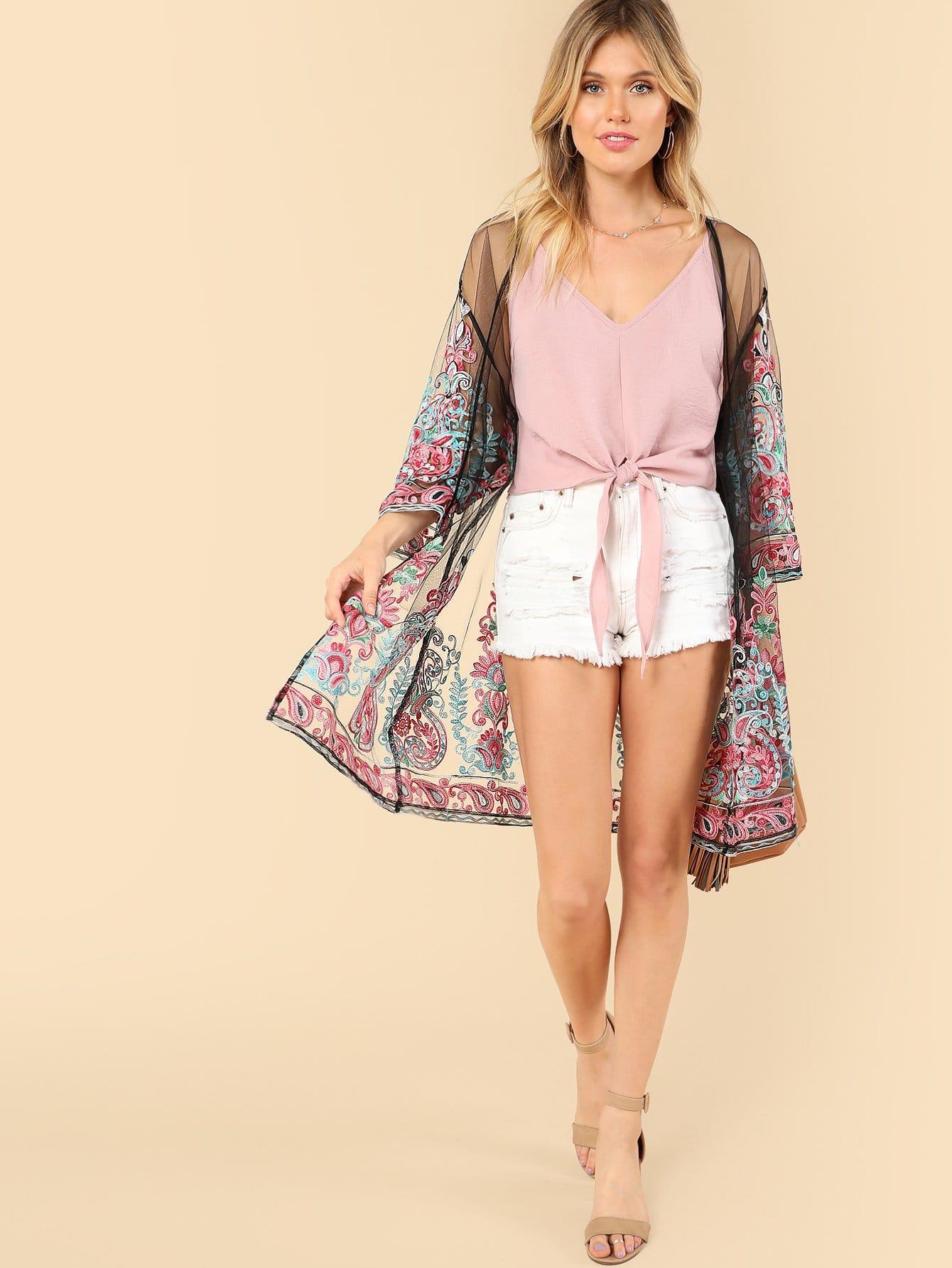 Embroidered Sheer Mesh Longline Kimono ar 3510w