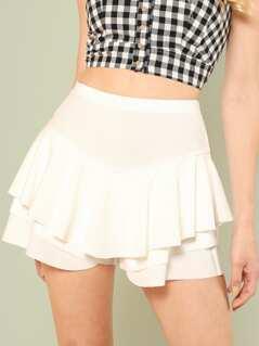 Ruffle Layered Skirt Shorts