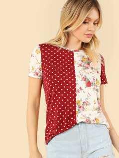Polka Dot & Floral Top