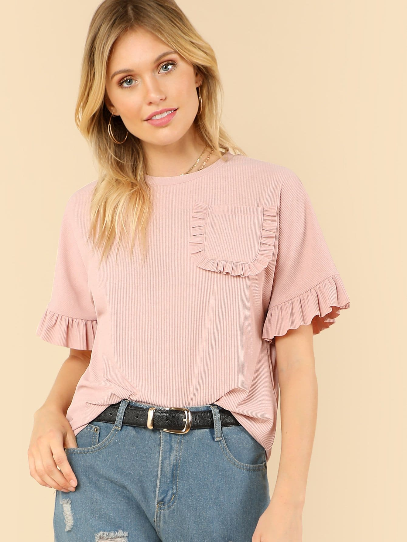 Pocket Patched Frill Detail Tee frill trim tee