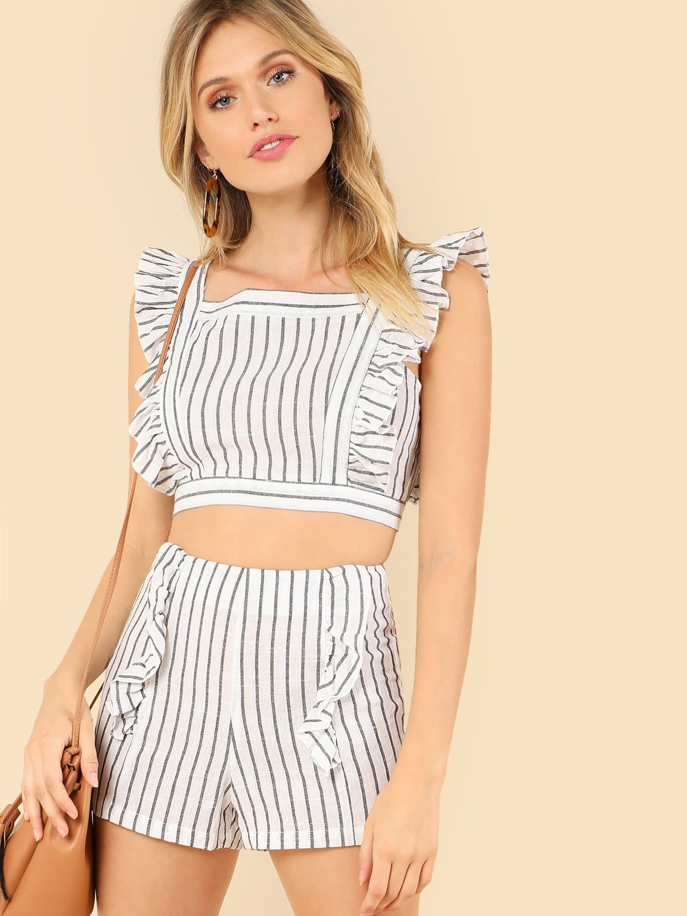 Ruffle Strap Crop Striped Top & Shorts Co-Ord jungle print crop tank top and pleated shorts co ord
