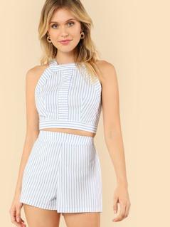 Striped Print Zip Back Crop Top & Shorts Set