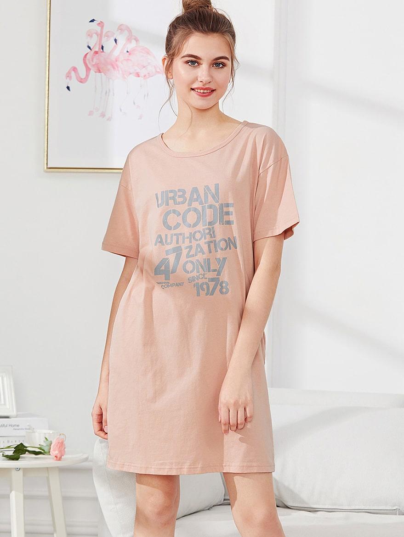 Letter Print Night Dress antler print letter night dress