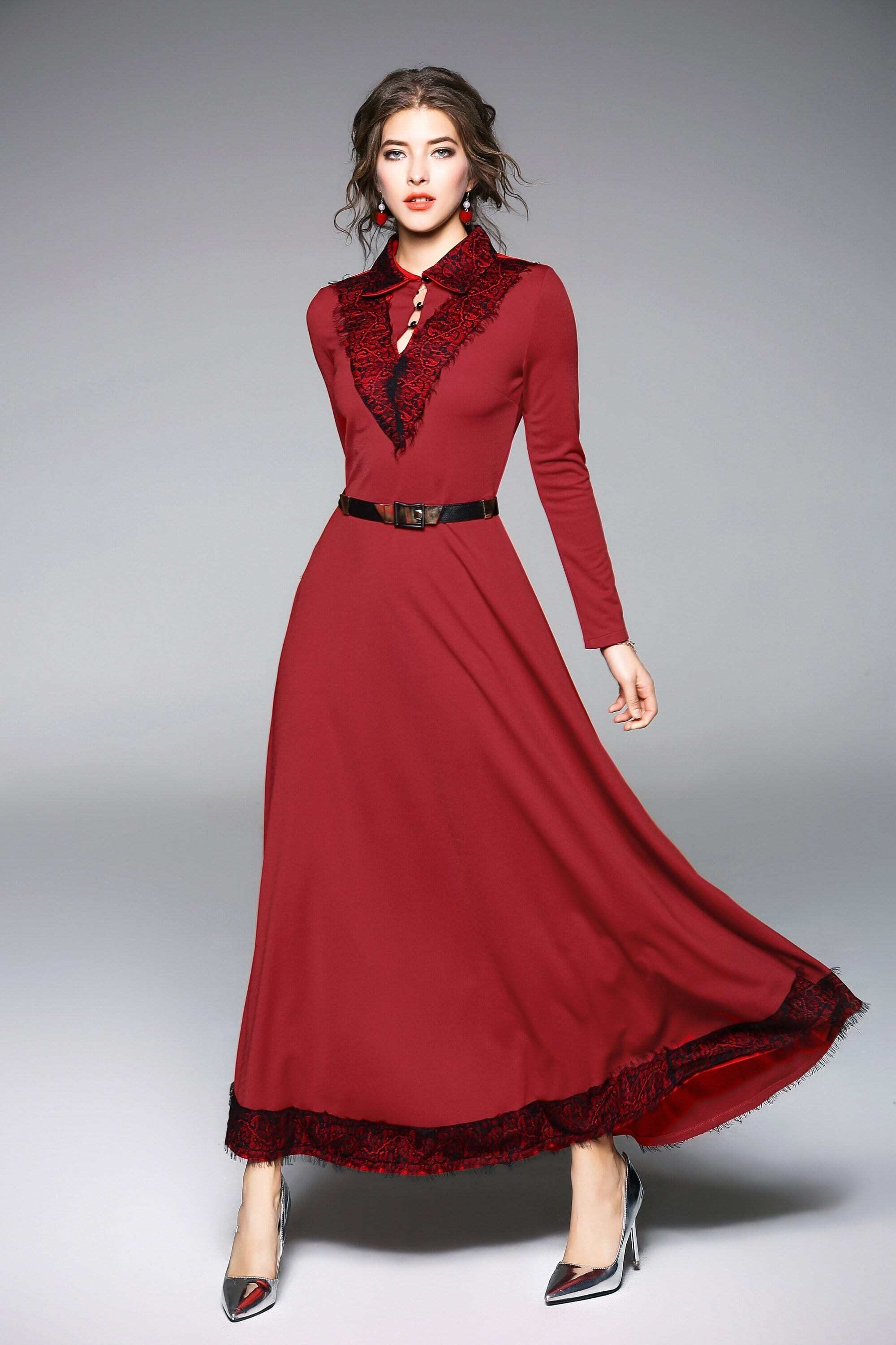 Lace Contrast Button Front Dress contrast collar foldover front dress
