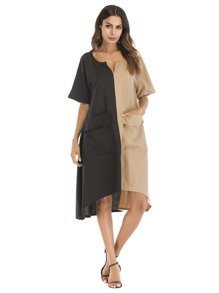 Two Tone Hanky Hem Dress