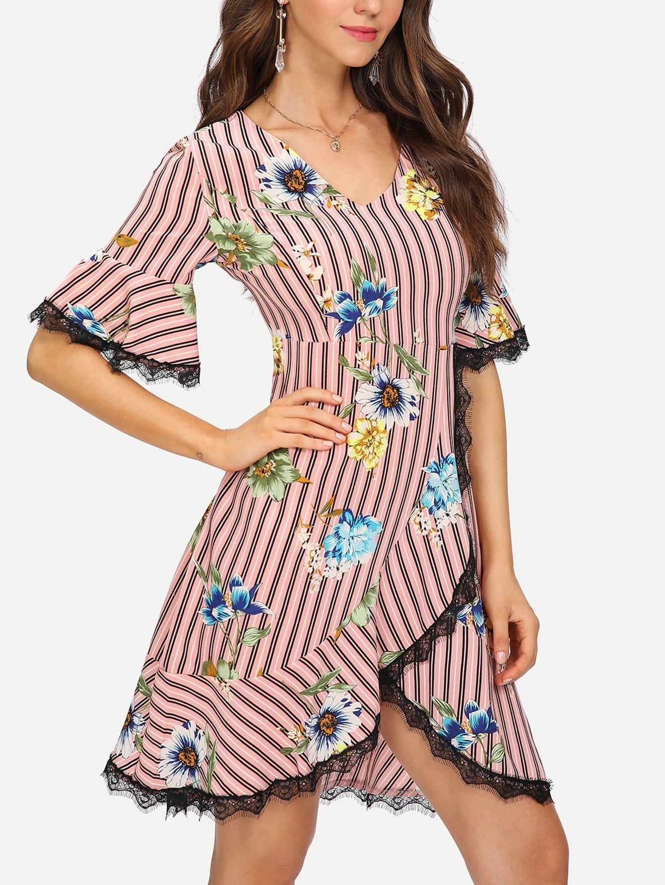 Contrast Lace Trim Floral Print Striped Dress contrast lace striped star print dress