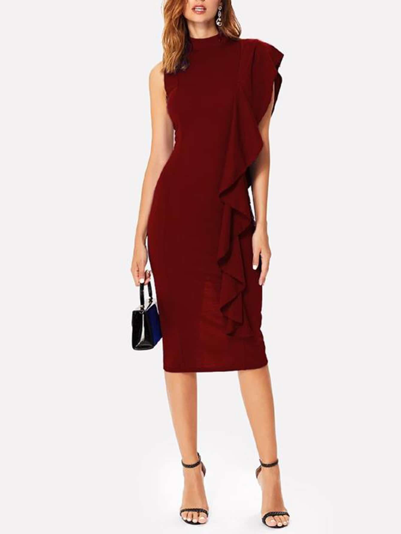 One Shoulder Ruffle Trim Mock Neck Midi Dress one shoulder ruffle embellished dress