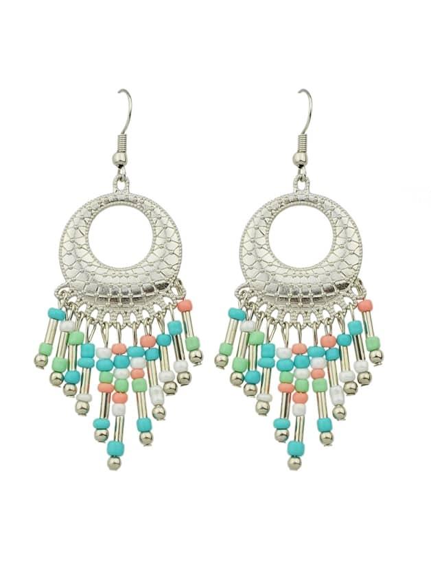Colorful Beads Tassel Geometric Earrings