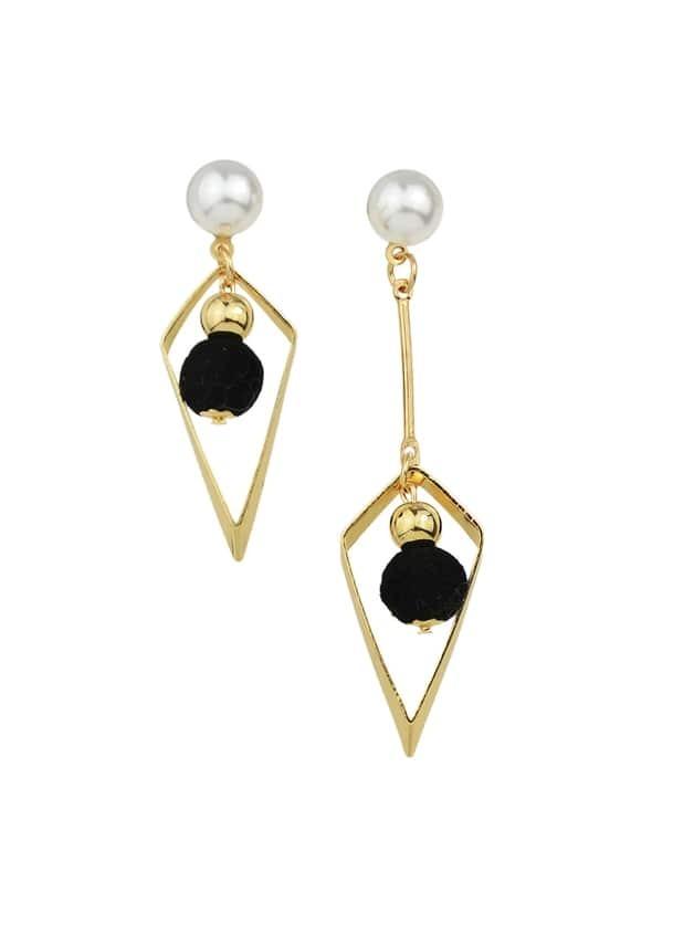 Black Simulated Pearl Geometric Earrings