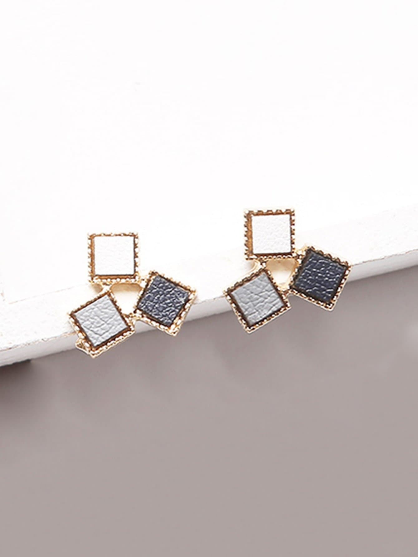 Square Design Color Block Stud Earrings