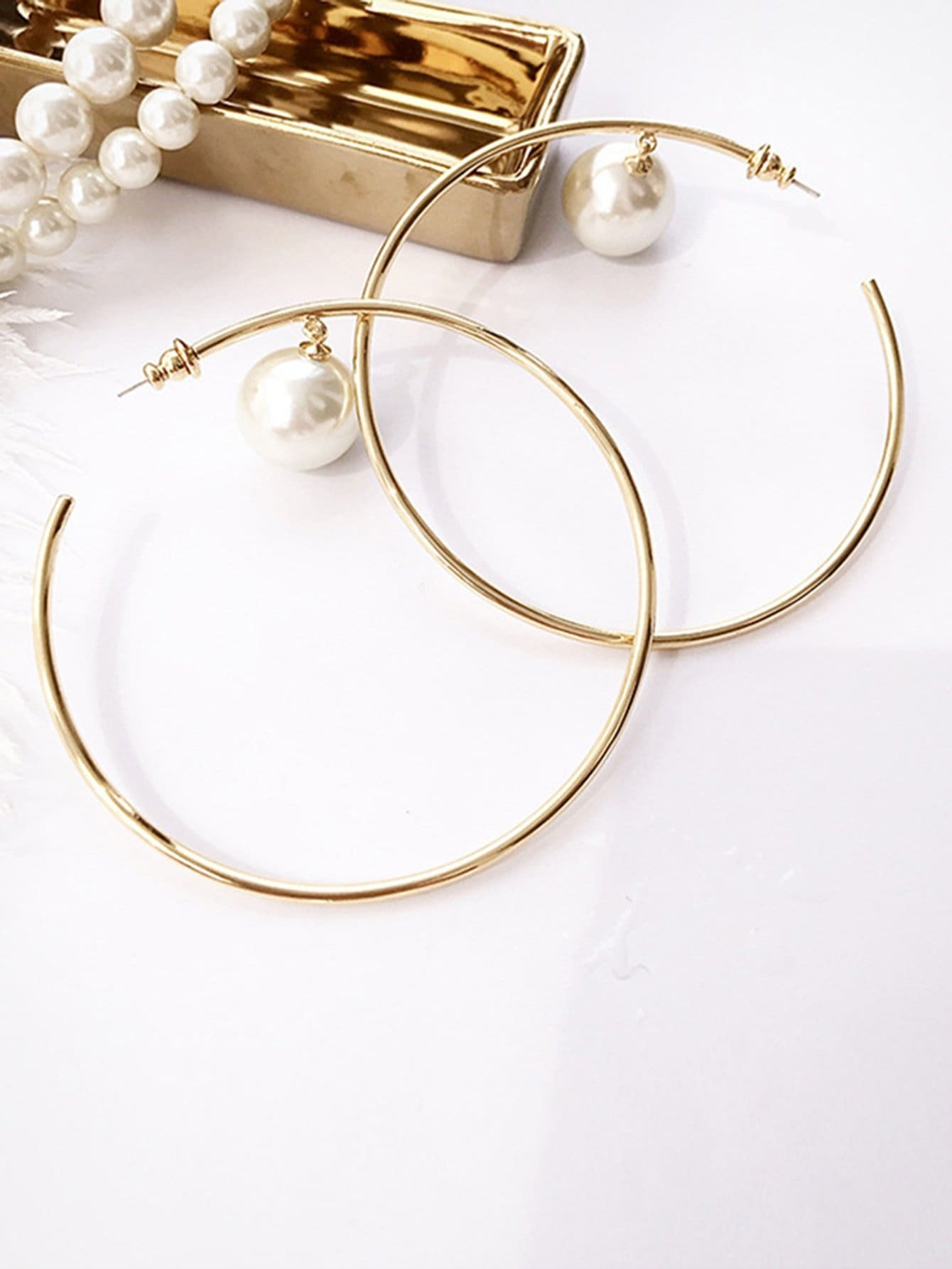 Faux Pearl Hoop Earrings faux pearl