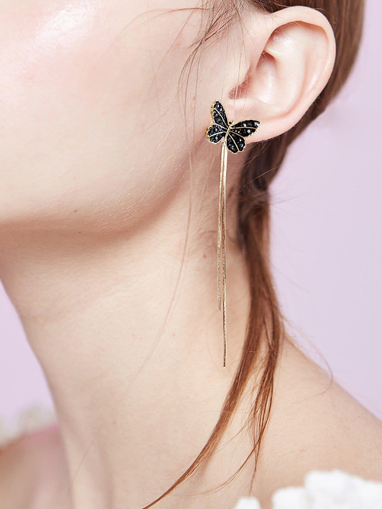 Butterfly Design Drop Earrings two tone cross design drop earrings