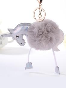 Unicorn Design Keychain With Pom Pom