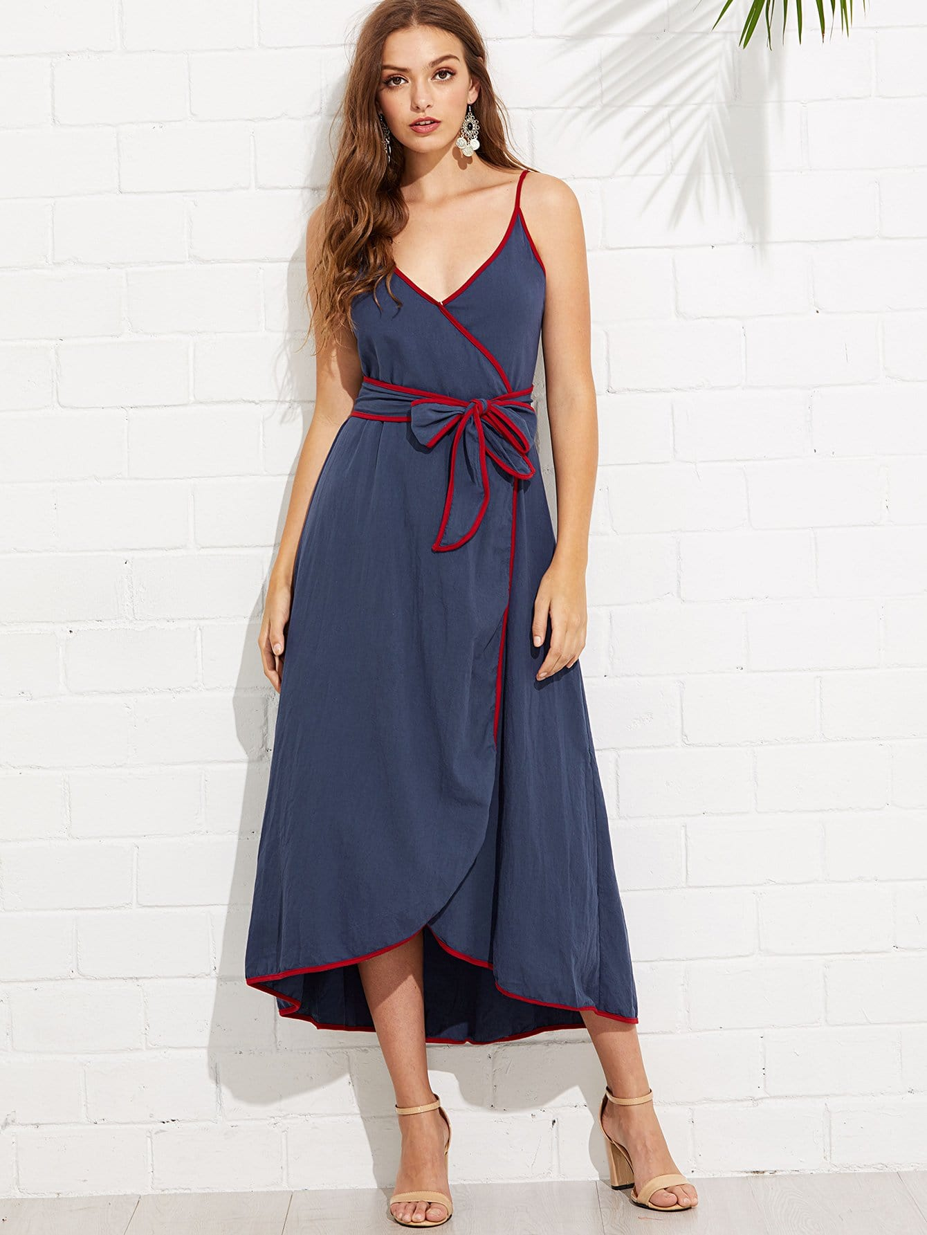 Contrast Binding Wrap Cami Dress with Belt contrast binding wrap dress